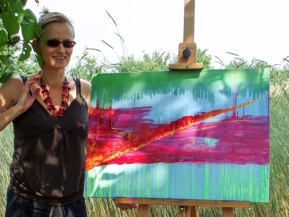 Impressie buiten schilderen met olieverf op waterbasis tijdens Festival Xplosief georganiseerd door Jofke